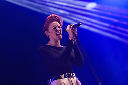 © Licensed to London News Pictures. 05/09/2014. Isle of Wight, UK. La Roux performing live at Bestival 2014 Day 2 Friday.  La Roux is Elly Jackson.  This weekend's headliners include Chic featuring Nile Rodgers, Foals and Outcast.   Bestival is a four-day music festival held at the Robin Hill country park on the Isle of Wight, England. It has been held annually in late summer since 2004.    Photo credit : Richard Isaac/LNP