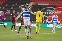Football - 2020 / 2021 Sky Bet Championship - AFC Bournemouth vs. Queens Park Rangers - The Vitality Stadium<br /> <br /> Macauley Bonne of Queens Park Rangers holds his head in his hands after Bournemouth's Asmir Begovic made a fine save from his shot during the Championship match at the Vitality Stadium (Dean Court) Bournemouth <br /> <br /> COLORSPORT/SHAUN BOGGUST