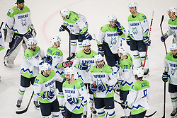 Players of Slovenia after the 2017 IIHF Men's World Championship group B Ice hockey match between National Teams of Czech Republic and Slovenia, on May 12, 2017 in AccorHotels Arena in Paris, France. Photo by Vid Ponikvar / Sportida