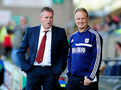 Crewe Alexandra Manager, Steve Davis and Bristol City Head coach, Sean O'Driscoll talk together prior to kick off - Photo mandatory by-line: Dougie Allward/JMP - Tel: Mobile: 07966 386802 19/10/2013 - SPORT - FOOTBALL - Alexandra Stadium - Crewe - Crewe V Bristol City - Sky Bet League One