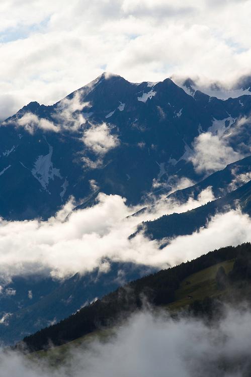 IFTE-NB-007636; Niall Benvie; View into the valley around Fliess from Kaunergrat visitor's centre; Austria; Europe; Tirol; vertical; grey blue; forest woodland; 2008; July; summer; fog mist rain cloud; Wild Wonders of Europe Naturpark Kaunergrat