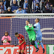 NEW YORK, NEW YORK - November 06: Goalkeeper Clint Irwin #1 of Toronto FC punches clear during the NYCFC Vs Toronto FC MLS playoff game at Yankee Stadium on November 06, 2016 in New York City. (Photo by Tim Clayton/Corbis via Getty Images)