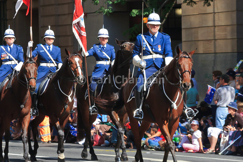 Queensland Police mounted horse unit in Brisbane ANZAC day 2005 parade <br /> <br /> Editions:- Open Edition Print / Stock Image