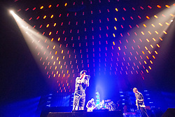 Red Hot Chili Peppers on stage at the SSE Hydro, Glasgow. They are - vocalist Anthony Kiedis, bassist Flea, drummer Chad Smith and guitarist Josh Klinghoffer.