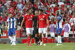 October 7, 2018 - Lisbon, Portugal - Haris Seferovic of Benfica (L)  celebrates his goal with Gabriel of Benfica (R)   during the Portuguese League football match between SL Benfica and FC Porto at Luz Stadium in Lisbon on October 7, 2018. (Credit Image: © Carlos Palma/NurPhoto/ZUMA Press)