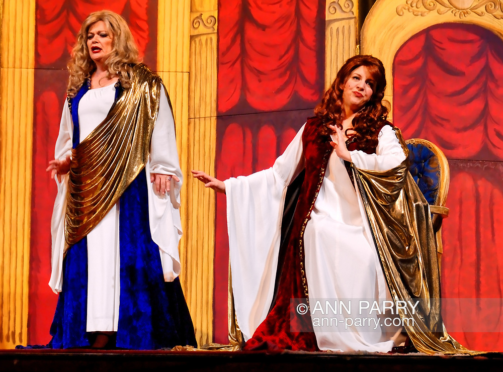 """MERRICK, NY - February 21: Duelling Divas stars, sopranos Birgit Fioravante and Wendy Reynolds - wearing Roman cloaks and singing ?Mira, O Norma? and ?Casta Diva? from Bellini's """"Norma"""" - in comic opera concert presented by Merrick Bellmore Community Concert Association on February 21, 2010 at Merrick, NY."""