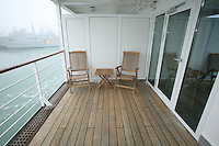 Swan Hellenic's Minerva arrived in it's homeport of Portsmouth today following it's multi-million pound upgrade. .New balcony cabin balcony.