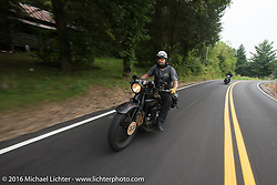"""Andreas """"Andy"""" Kaindl of Southern Germany riding his 1924 Henderson Deluxe during Stage 4 of the Motorcycle Cannonball Cross-Country Endurance Run, which on this day ran from Chatanooga to Clarksville, TN., USA. Monday, September 8, 2014.  Photography ©2014 Michael Lichter."""