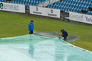 Pools of water running off the covers before the Vitality T20 Blast North Group match between Yorkshire Vikings and Leicestershire Foxes at Emerald Headingley Stadium, Leeds, United Kingdom on 2 September 2020.