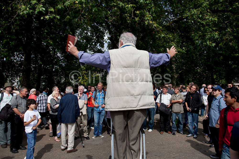 Speakers' Corner is an area where public speaking is allowed. The original and most noted is in the north-east corner of Hyde Park in London, England. Speakers there are allowed to speak as long as the police consider their speeches lawful. Contrary to popular belief, there is no immunity from the law, nor are any subjects forbidden, but in practice the police tend to be tolerant and therefore only intervene when they receive a complaint or if they hear profanity.
