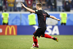 July 1, 2018 - Nizhny Novgorod, Russia - Ivan Rakitic of Croatia shoot a penalty during the 2018 FIFA World Cup Round of 16 match between Croatia and Denmark at Nizhny Novgorod Stadium in Nizhny Novgorod, Russia on July 1, 2018  (Credit Image: © Andrew Surma/NurPhoto via ZUMA Press)
