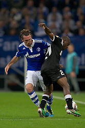03.11.2011, Veltins Arena, Gelsenkirchen, GER, UEFA Europa League, FC Schalke 04 (GER) vs AEK Larnaca FC (CYP), im Bild Zweikampf Christian Fuchs (#23 Schalke) - Njongo Priso (#21 Larnaca) // during FC Schalke 04 (GER) vs AEK Larnaca FC (CYP) at Veltins Arena, Gelsenkirchen, GER, 2011-11-03. EXPA Pictures © 2011, PhotoCredit: EXPA/ nph/  Kurth       ****** out of GER / CRO  / BEL ******