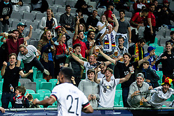LJUBLJANA, SLOVENIA - JUNE 06: Supporters of Germany celebrate after Lukas Nmecha of Germany scoring their side's first goal  during the 2021 UEFA European Under-21 Championship Final match between Germany and Portugal at Stadion Stozice on June 6, 2021 in Ljubljana, Slovenia. Photo by Grega Valancic / Sportida