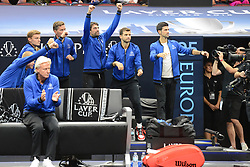 September 22, 2018 - Chicago, Illinois, United States - Members of Team Europe celebrate after Roger Federer's win over N. Kyrgios in the 2018 Laver Cup tennis event in Chicago. (Credit Image: © Christopher Levy/ZUMA Wire)