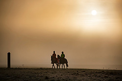 © Licensed to London News Pictures. 21/01/2020. Epsom, UK. Early morning horse riders brave a frosty and foggy start to the day on Epsom Downs racecourse in Surrey. Photo credit: Peter Macdiarmid/LNP