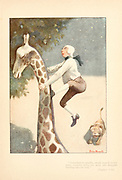 Climbing on a giraffe From the book Mr. Munchausen; being a true account of some of the recent adventures beyond the Styx of the late Hieronymus Carl Friedrich, sometime Baron Munchausen of Bodenwerder, as originally reported for the Sunday edition of the Gehenna Gazette by its special interviewer the late Mr. Ananias formerly of Jerusalem and now first transcribed from the columns of that journal. by Bangs, John Kendrick, (1862-1922) Published in Boston by Noyes, Platt & company 1901 with artwork by Peter Newell