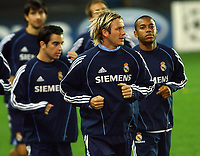 Soccer, Champions League, Real Madrid training in Trondheim 31.10.05<br /> David Beckham and Robinho<br /> Foto: Carl-Erik Eriksson, Digitalsport