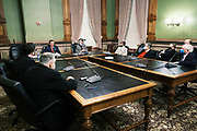 14 DECEMBER 2020 - DES MOINES, IOWA: Iowa's Electors listen to Secretary of State PAUL PATE and Governor KIM REYNOLDS before voting. Iowa's six Electors met at the State Capitol Monday and voted for President Donald Trump and Vice President Mike Pence, cementing Trump's victory in Iowa. Trump carried Iowa by 8.2 percent in the November 3 general election.       PHOTO BY JACK KURTZ