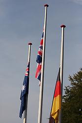 Flags during the Men's Elite Road Race at the UCI Road World Championships on September 25, 2011 in Copenhagen, Denmark. (Photo by Marjan Kelner / Sportida Photo Agency)