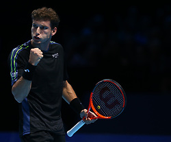 November 15, 2017 - London, England, United Kingdom - Pablo Carreno Busta of Spain celebrates a point.during Day Four of the NITTO ATP World Tour  Finals played at The O2 Arena, London on November 15 2017  (Credit Image: © Kieran Galvin/NurPhoto via ZUMA Press)