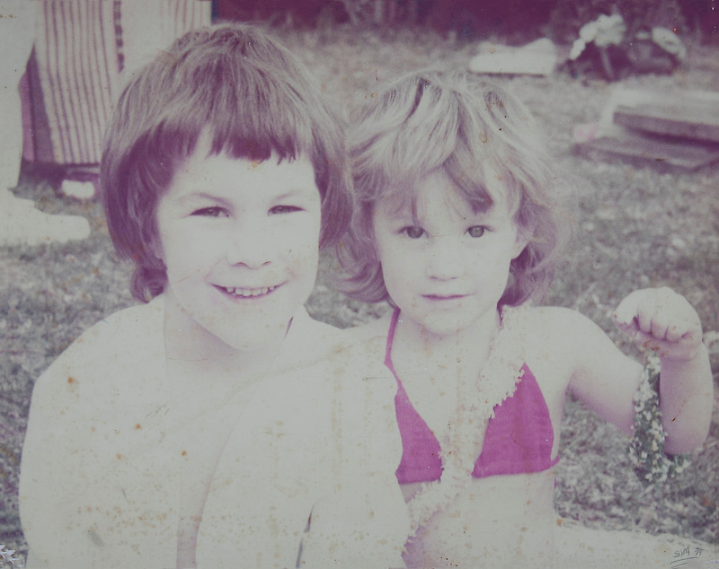 Old photo restoration before - fading and staining