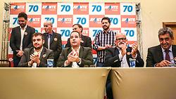 """PORTO ALEGRE, RS, BRASIL, 15-03-2018, 20h23'30"""":  O empresário Rubens Rebés e o advogado Tomaz Schuch são os novos dirigentes do AVANTE, no RS. A posse da direção estadual do partido contou com a presença do Deputado Federal e presidente nacional, Luís Tibê (MG), e ocorreu na noite de quinta-feira (15/3) no Hotel Intercity. AVANTE é um partido político brasileiro, fundado como Partido Trabalhista do Brasil (PTdoB) por dissidentes do Partido Trabalhista Brasileiro (PTB), em 1989. Seu número eleitoral é o 70. O novo nome, criado a partir do desejo das pessoas que lutam por um país que segue em frente, se aproxima ainda mais dos verdadeiros objetivos do partido, alicerçado ao longo de sua história e atrelado aos novos pilares: compromisso, prosperidade, humanidade, coletividade, diálogo, transparência e liberdade. (Foto: Gustavo Roth / Agência Preview) © 15MAR18 Agência Preview - Banco de Imagens"""