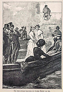 On the Steam Launch to Loma Point from the book ' Mistress Branican ' by Jules Verne, illustrated by Leon Benett. The story begins in the United States, where the heroine, Mistress Branican, suffers a mental breakdown after the death by drowning of her young son. On recovering, she learns that her husband, Captain Branican, has been reported lost at sea. Having acquired a fortune, she is able to launch an expedition to search for her husband, who she is convinced is still alive. She leads the expedition herself and trail leads her into the Australian hinterland. Mistress Branican (French: Mistress Branican, 1891) is an adventure novel written by Jules Verne and based on Colonel Peter Egerton Warburton and Ernest Giles accounts of their journeys across the Western Australian deserts, and inspired by the search launched by Lady Franklin when her husband Sir John Franklin was reported lost in the Northwest Passage. Translated by A. Estoclet, Published in New York, Cassell Pub. Co. 1891.