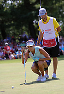 26JUL15  Caddie Benji with Lexi Thompson on 18 during Sunday's Final Round of The Meijer LPGA Classic at The Blythefield Country Club in Belmont, Michigan. (photo credit : kenneth e. dennis/kendennisphoto.com)