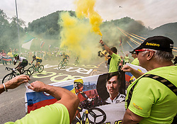 Supporters Primoz Roglic (C) of Team Lotto NL Jumbo in Strahovlje village during 3rd Stage of 25th Tour de Slovenie 2018 cycling race between Slovenske Konjice and Celje (175,7 km), on June 15, 2018 in  Slovenia. Photo by Vid Ponikvar / Sportida