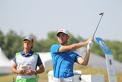 May 18, 2018 - Dallas, TX, U.S. - DALLAS, TX - MAY 18: Noah Goodwin (USA) hits from the 8th tee during the second round of the AT&T Byron Nelson on May 18, 2018 at Trinity Forest Golf Club in Dallas, TX. (Photo by George Walker/Icon Sportswire) (Credit Image: © George Walker/Icon SMI via ZUMA Press)