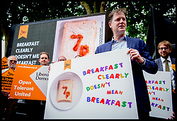 May 31, 2017 - London, London, United Kingdom - Image ©Licensed to i-Images Picture Agency. 31/05/2017. London, United Kingdom. Nick Clegg- Lib Dems Poster Launch. Former Deputy Prime Minister and Leader of the Liberal Democrats Nick Clegg unveils a new poster during the 2017 General Election campaign,  attacking Theresa May's decision to scrap free school meals. Picture by Andrew Parsons / i-Images (Credit Image: © Andrew Parsons/i-Images via ZUMA Press)