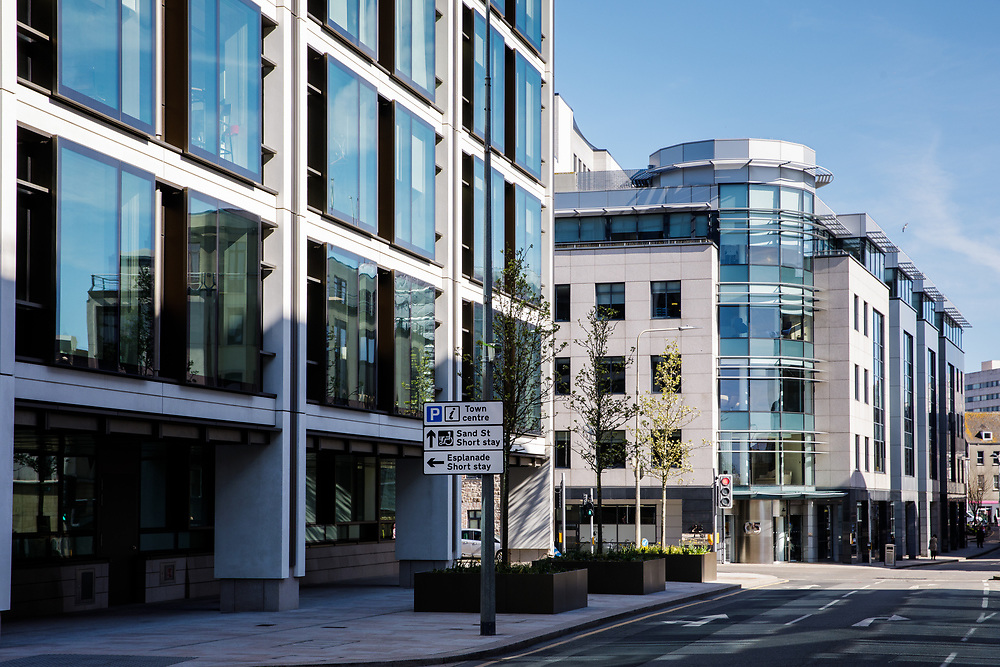 Office buildings in the offshore business and finance area of Jersey, Channel Islands