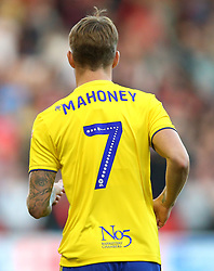 Close up of the Mind Charity branding on the back of Birmingham City's Connor Mahoney shirt