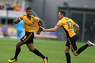 Joss Labadie of Newport county (4) celebrates with teammate Ben Tozer  after he scores his teams 2nd goal. EFL Skybet football league two match, Newport county v Yeovil Town at Rodney Parade in Newport, South Wales on Saturday 7th October 2017.<br /> pic by Andrew Orchard,  Andrew Orchard sports photography.