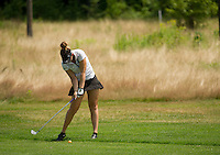 Victoria Elizabeth drives her second shot at the 4th hole during the LPGA Symetra Tour Friday afternoon at Beaver Meadow Golf Course. (Karen Bobotas/for the Concord Monitor)