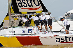 2008 Monsoon Cup. First round robins. Ben Ainslie stuck on the starting vessel losing the match after black flag (Thursday  4rd December 2008). .