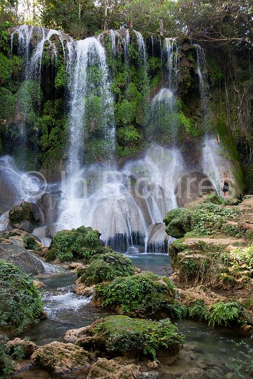 El Nicho waterfalls in the forest between Ciengfuegos and Trinidade, Cienfuegos province, Cuba. .