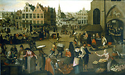 View of a market place. Low countries port town, see shipping top left background.  Housewives shopping for food and domestic wares. Artist, Hendrick Van Steenwyck the Elder (c1500-1603). Oil on wood. Private collection.