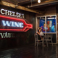 Phone call from the Chelsea Wine Vault at Chelsea Market in New York City
