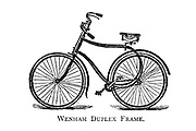 Wenham Duplex Frame Bicycle From Wheels and Wheeling; An indispensable handbook for cyclists, with over two hundred illustrations by Porter, Luther Henry. Published in Boston in 1892