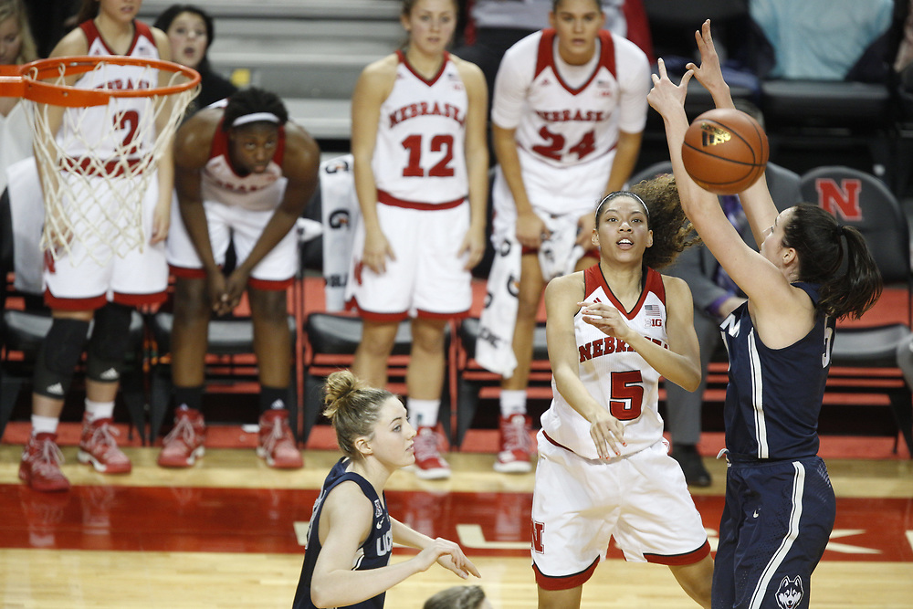 Nebraska Cornhuskers guard Nicea Eliely #5 during Nebraska's 84-41 loss to No. 1-ranked UConn at Pinnacle Bank Arena in Lincoln, Neb. on Dec. 21, 2016. Photo by Aaron Babcock, Hail Varsity