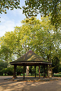 Lincoln's Inn Fields bandstand on 13th October 2015 in London, United Kingdom. Lincolns Inn Fields is the largest public square in London.