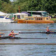 Olivia Loe & Brooke Donoghue , New Zealand elite  Womens Double Scull  lead Sam Voss & Hannah Osborne , New Zealand elite  Womens Double Scull 2<br /> <br /> Racing at the Henley Royal Regatta on The Thames river, Henley on Thames, England. Friday 5 July 2019. © Copyright photo Steve McArthur / www.photosport.nz
