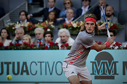 May 12, 2019 - Madrid, Madrid, Spain - Stefanos Tsitsipas from Greece seen in action during the Mutua Madrid Open Masters final match against Novak Djokovic from Serbia on day eight at Caja Magica in Madrid..Novak Djokovic beats Stefanos Tsitsipas. (Credit Image: © Legan P. Mace/SOPA Images via ZUMA Wire)