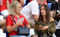 Megan Davison, partner of Jordan Pickford and Millie Savage, partner of John Stones before the FIFA World Cup, Quarter Final match at the Samara Stadium.