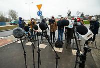 Sokolka, woj. podlaskie, 27.11.2019. Uroczyste otwarcie nowego wiaduktu nad torami kolejowymi prowadzacymi w kierunku granicy z Bialorusia. Wybudowany kosztem 64 mln zlotych wiadukt, ulatwi zycie mieszkancom powiatowej Sokolki, ktorzy czasami musieli czekac nawet 15-20 minut na podniesienie szlabanu. N/z lokalne media czekaja na rozpoczecie uroczystosci fot Michal Kosc / AGENCJA WSCHOD