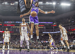 December 29, 2017 - Sacramento, CA, USA - The Sacramento Kings' Skal Labissiere (7) follows through on a dunk against the Phoenix Suns on Friday, Dec. 29, 2017, at the Golden 1 Center in Sacramento, Calif. (Credit Image: © Hector Amezcua/TNS via ZUMA Wire)
