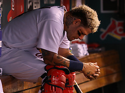 July 28, 2017 - St. Louis, MO, USA - St. Louis Cardinals catcher Yadier Molina sits in the dugout during a 1-0 win against the Arizona Diamondbacks at Busch Stadium in St. Louis on Friday, July 28, 2017. (Credit Image: © Christian Gooden/TNS via ZUMA Wire)
