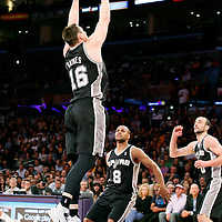 19 March 2014: San Antonio Spurs forward Aron Baynes (16) goes for the rebound during the San Antonio Spurs 125-109 victory over the Los Angeles Lakers at the Staples Center, Los Angeles, California, USA.