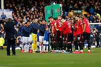 Football - 2019 / 2020 Premier League - Everton vs. Manchester United<br /> <br /> The two teams shake hands before the kick off, at Goodison Park.<br /> <br /> COLORSPORT/ALAN MARTIN